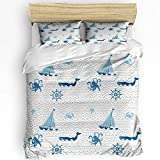 Fadaseo Home Bedding Set 3 Piece Duvet Cover Set Nautical Animal Collection Blue and Gray Striped...