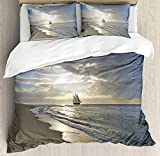Nautical Quilt Bedding Sets, A Sailing Ship Close to Sandy Beach in Moody Sunset Paradise Tropical...