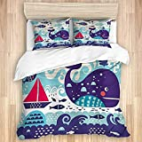 Duvet Cover,Purple Marine Traffic with Whale Sailboat and Fish with Cloud and Waves Nautical Life...