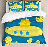ABAKUHAUS Rubber Duck Duvet Cover Set Twin Size, Duckies Swimming in the Sea with a Yellow Submarine...