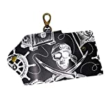 EZIOLY Skull Pirate Anchor Fortune PU Leather Car Key Chain Card Holder with 6 Hooks & 1...