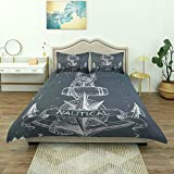Dodunstyle Duvet Cover,Nautical Knot Compass Anchor Pattern Sea World Ocean Life Grunge Theme...