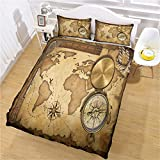 CLQPYQ Duvet Covers King Size Beds - 3 Pcs 3D World Nautical Map Compass Pattern Bedding Set...