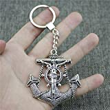 CSCZL Antique Silver 63x60mm Jesus Anchors Keychain New Vintage Handmade Metal Key Ring Party Gift