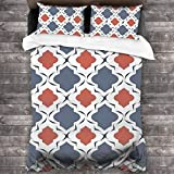 3-Piece Bedding Set Nautical Quatrefoil With Blue And Coral Colors Vector 100% Natural Polyester,1...