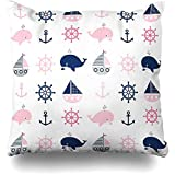 N/A Throw Pillow Covers Character Navy Girl Cute Nautical Pattern Whales Boats Wildlife Pink Anchor...