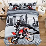 3D Printed Motocross City Scape Design Duvet Cover Set Bedding Set,Soft Microfiber,2...
