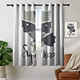 Petpany Window Curtain Fabric Nursery,Cartoon Style Raccoon Super Hero with a Costume and Cape...