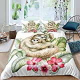 Tbrand Sloths Tropical Leaves Comforter Cover Set Sloth Mother and Baby Bedding Set for Kids Boys...