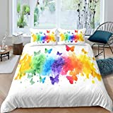 Loussiesd Boho Psychedelic Comforter Cover Set Colorful Tie Dye Bedding Set Rainbow Butterflies...
