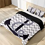 Nautical Anchor Microfiber 3pcs Bedding Duvet Cover Set, Queen Size, Soft and Breathable with Zipper...