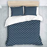 Duvet Cover Set, Navy Blue Nautical Classical Pattern with White Little Anchor Sea Travel Cruise,...