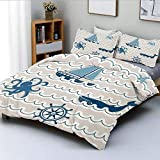 Duvet Cover Set,Wave Pattern with Nautical Elements Icons Octopus Crab Starfish Whale Art Decorative...