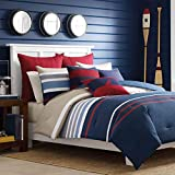Nautica 100% Cotton Cozy & Soft, Durable & Breathable Striped Reversible Comforter Matching Sham,...