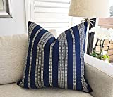 Hose233 Striped Cushion Cover Pillow Cover Navy Blue Embroidered Nautical Stripe Black and White...
