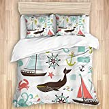 Duvet Cover,Nautical Pastel Colored Composition of Lighthouse Sailboat Fish Shells Octopus and...