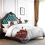 Hiiiman Bedding Cover Set with Zipper Ties Sailing Ship Floating on The Sea Drawing Style Nautical...