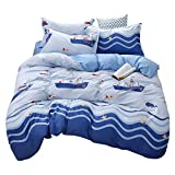 Loussiesd Kids Duvet Cover Set Single for Boys Girls Ocean Themed Bedding Set Nautical Boat Starfish...