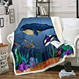 Loussiesd Whale Blanket Dolphin Fleece Throw Blanket for Sofa Couch Bed Ocean Marine Themed Sherpa...