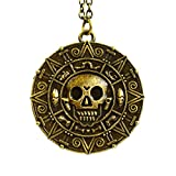 Beaux Bijoux Bronze - Pirates of The Caribbean Aztec Coin Medallion Skull Charm Fancy Dress Necklace...