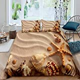 Beach Themed Comforter Cover Shell Conch Starfish Marine Life Duvet Cover for Kids Boys Girls Teens...