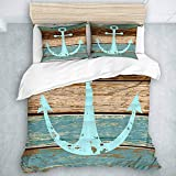 Duvet Cover Set, Timeworn Marine Symbol On Weathered Wooden Planks Rustic Nautical Theme, Casual...