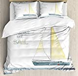 LnimioAOX Sailboat Nautical Decor Duvet Cover Set, Let Your Dreams Set Sail On Stripes Yacht...