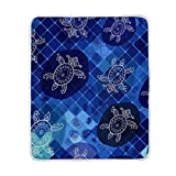 Emoya Bedding Flannel Throw Blanket Sea Turtle Nautical Mosaic Style Plush Microfiber Fabric -...