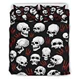 Yzanswer Skull Super Soft Bed Set Luxury Bedding A duvet cover & two pillowcases for Girls Boys...