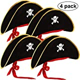 Hsei 4 Pieces Pirate Hat Classic Skull Print Pirate Captain Costume Cap for Halloween Masquerade...