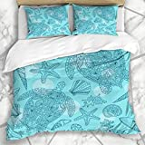 Soefipok Duvet Cover Sets Water Blue Pattern Seashells Sea Stars Corals Bubbles Reef Life Sealife...