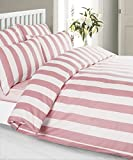 Louisiana Bedding Vertical Pink & White Stripe Duvet Cover Set 100% Cotton 200 Thread Count-Single