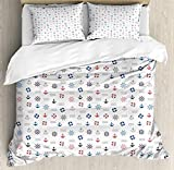 XOXUN Nautical Duvet Cover Set, Marine Elements Featured Lifebuoy Anchor Compass Sea Waves Kids...