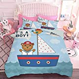 Hiiiman Comforter Bedding Set 3pcs Cute Baby Shower Theme Its a Boy in Nautical Style Bear and Bird...