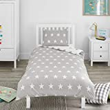 Bloomsbury Mill - Grey & White Stars - Kids Bedding Set - Junior/Toddler/Cot Bed Duvet Cover and...