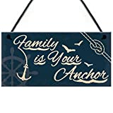 RED OCEAN Seaside Family Is Your Anchor Shabby Chic Hanging Plaque Nautical Theme Bathroom/Kitchen...