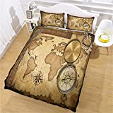JKKIWK double duvet cover sets 3 Pieces 3D Printed Bedding Set double Nautical map compass Soft...