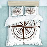 Duvet Cover Set, Map Brown Compass Rose White Nautical Old Wind Star Latitude Longitude World, for...