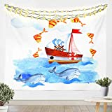 Loussiesd Cartoon cute Ocean Creature Tapestry for Girls Boys Children whale Wall Blanket Nautical...