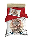 OZINCI DecoMood Unique Design Ocean 3D Nautical Bedding Set, Vintage Ship Themed Quilt/Duvet Cover...