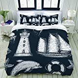 Duvet Cover,Nautical Lighthouse Whale Seamless Pattern,Bedding Set Ultra Comfy Lightweight Luxury...
