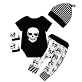 puseky Newborn Baby Clothes Boys Girls Romper+Pants+Hat+Mitten Skull Halloween Outfit Set (0-6...