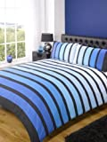 Rapport SoHo Blue Stripe Duvet Cover Quilt Bedding Set, Blue, Double