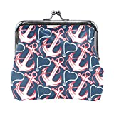BONIPE Nautical Anchor Pattern Coin Purse Leather Mini Clutch Pouch Wallet for Women Girls