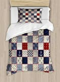 Lunarable Geometric Duvet Cover Set, Checkered Pattern with Pale Nautical Design Elements Grunge...