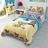 Nautical Nursery Bedding Set Red Teddy Sailor Duvet Cover + Pillowcase to fit Cot/Cot Bed/Toddler...