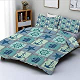 Duvet Cover Set,Nautical Patchwork Pattern with Ropes Starfish Sailing Ship Anchor and...