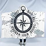 Nologo WLYX Compass Hooded Blanket Nautical Map Sherpa Fleece Microfiber Navy Blue and White Throw...