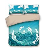 KIMDFACE Duvet Cover Set,Nautical,Foamy Ocean Waves with Fluffy Clouds in Air Sun Summer Sea...