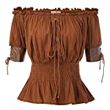 Belle Poque Women's Pleated Stretch Peasant Blouses Off Shoulder Smocked Waist Brown Size M
